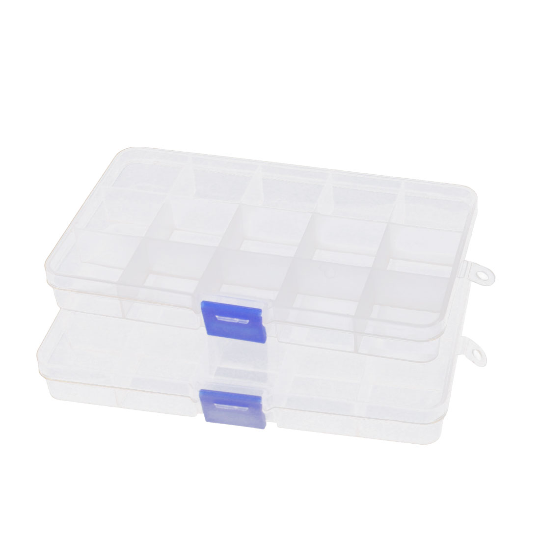 Clear Plastic 15 Slots Components Jewelry Craft Organizer Storage Case Box 2 Pcs