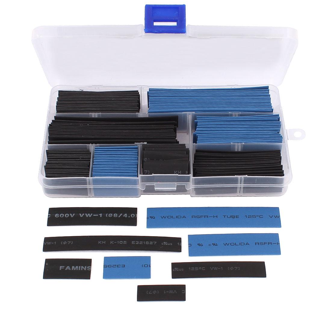 8 Sizes 2:1 Polyolefin Heat Shrink Tubing Shrinkable Tube 160 Pcs Black Blue