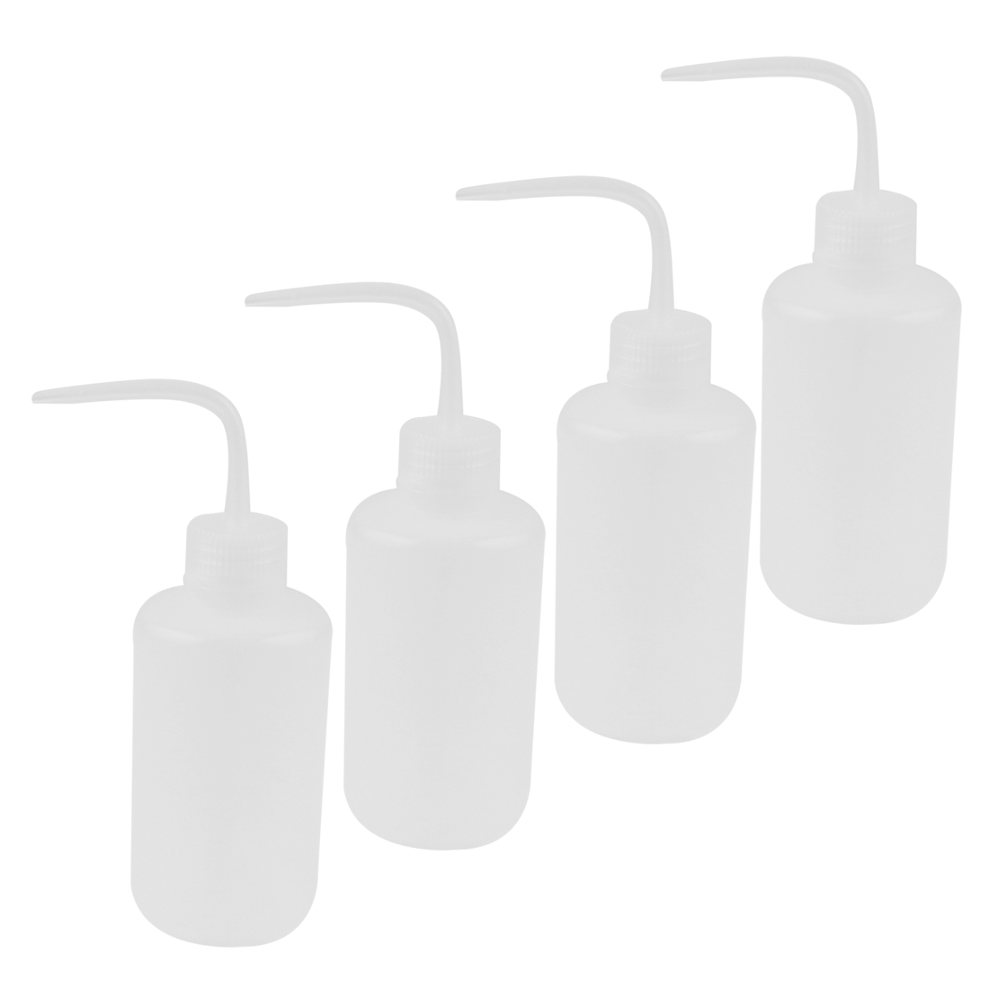 Lab Right Angle Bent Tip Plastic Liquid Storage Squeeze Bottle Dispenser 250mL 4 Pcs