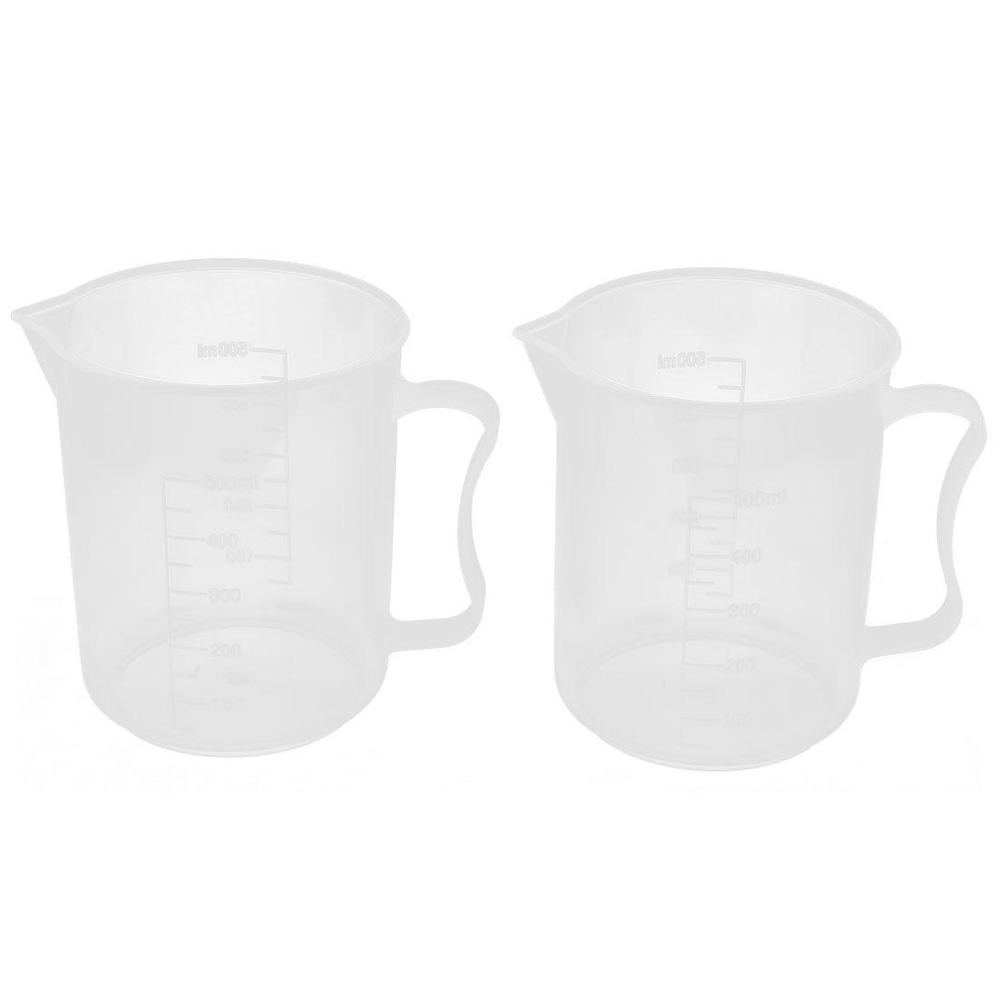 Lab Chemistry Experiment Liquid Storage Measuring Testing Beaker Cup 500ml 2 Pcs
