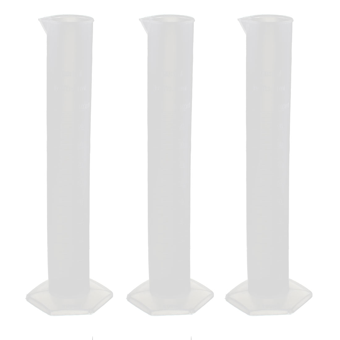Plastic Cylinder Lab Liquid Container Graduated Measuring Beaker Cup 100mL 3 Pcs