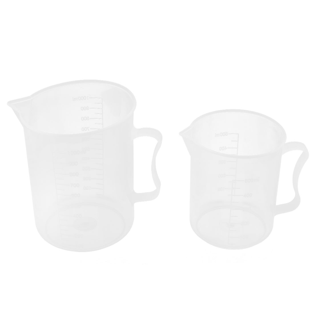 2 in 1 Plastic Lab Experiment Liquid Testing Measuring Beaker Cup 500mL/1000mL