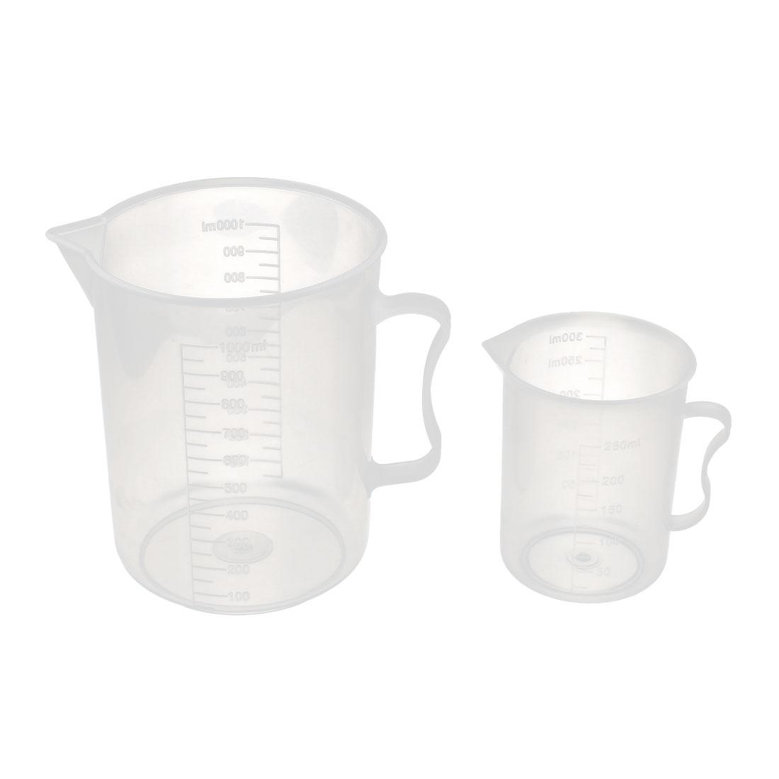 2 in 1 Plastic Lab Experiment Liquid Container Measuring Beaker Cup 300mL/1000mL
