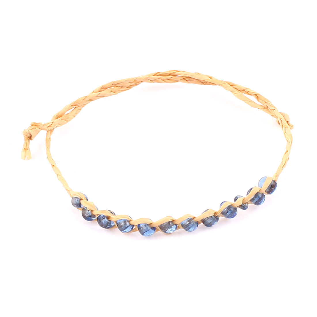 Beige Light Blue Beads Decor Self Tie Straw Bracelet Bangle 5 Pcs