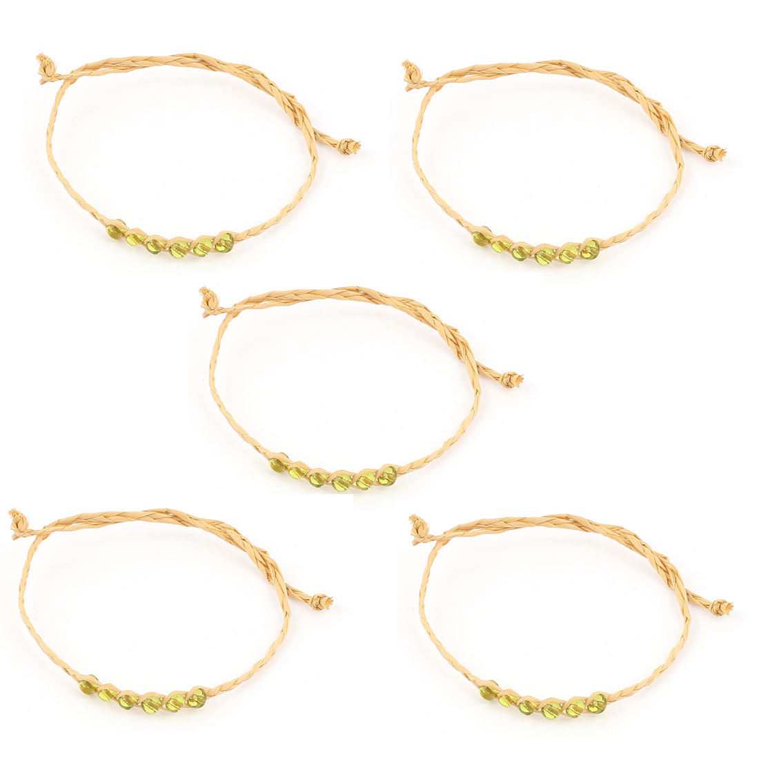 Light Green Beads Decorated Lucky Straw Bracelets Bangle 5 PCS