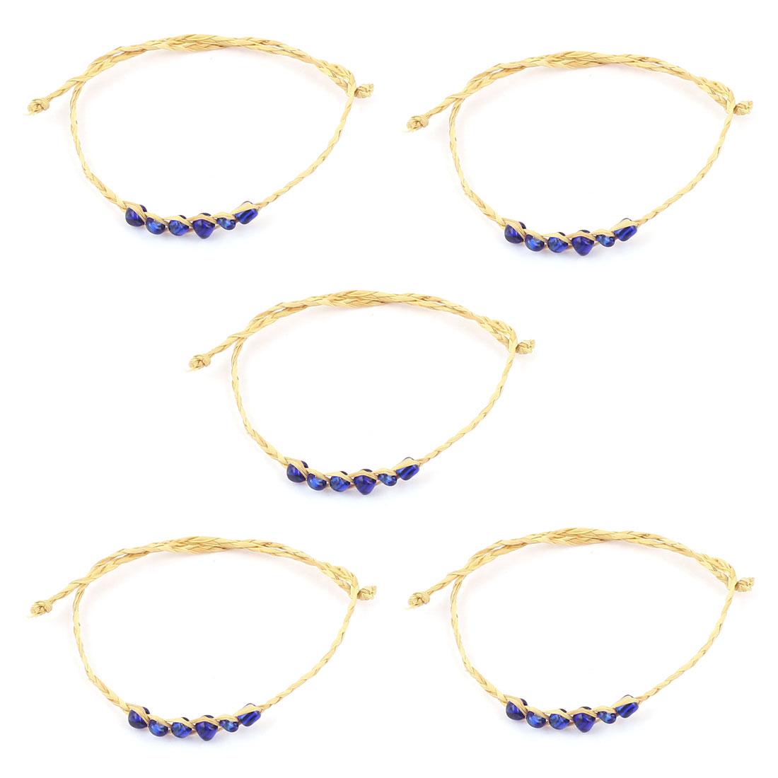 Dark Blue Plastic Beads Decorated Straw Bracelets Bangle 5 PCS