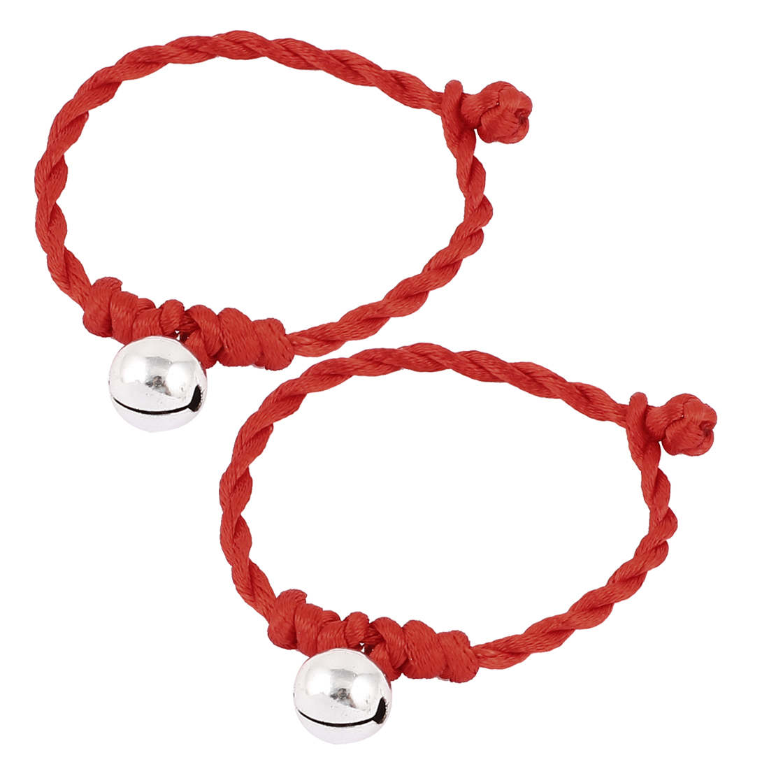Bell Decor Red Nylon Button Knot Closure Bracelets 2 Pcs