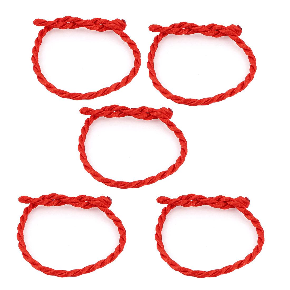 Red Nylon String Handmade Lucky Braid Bracelet 5 Pcs
