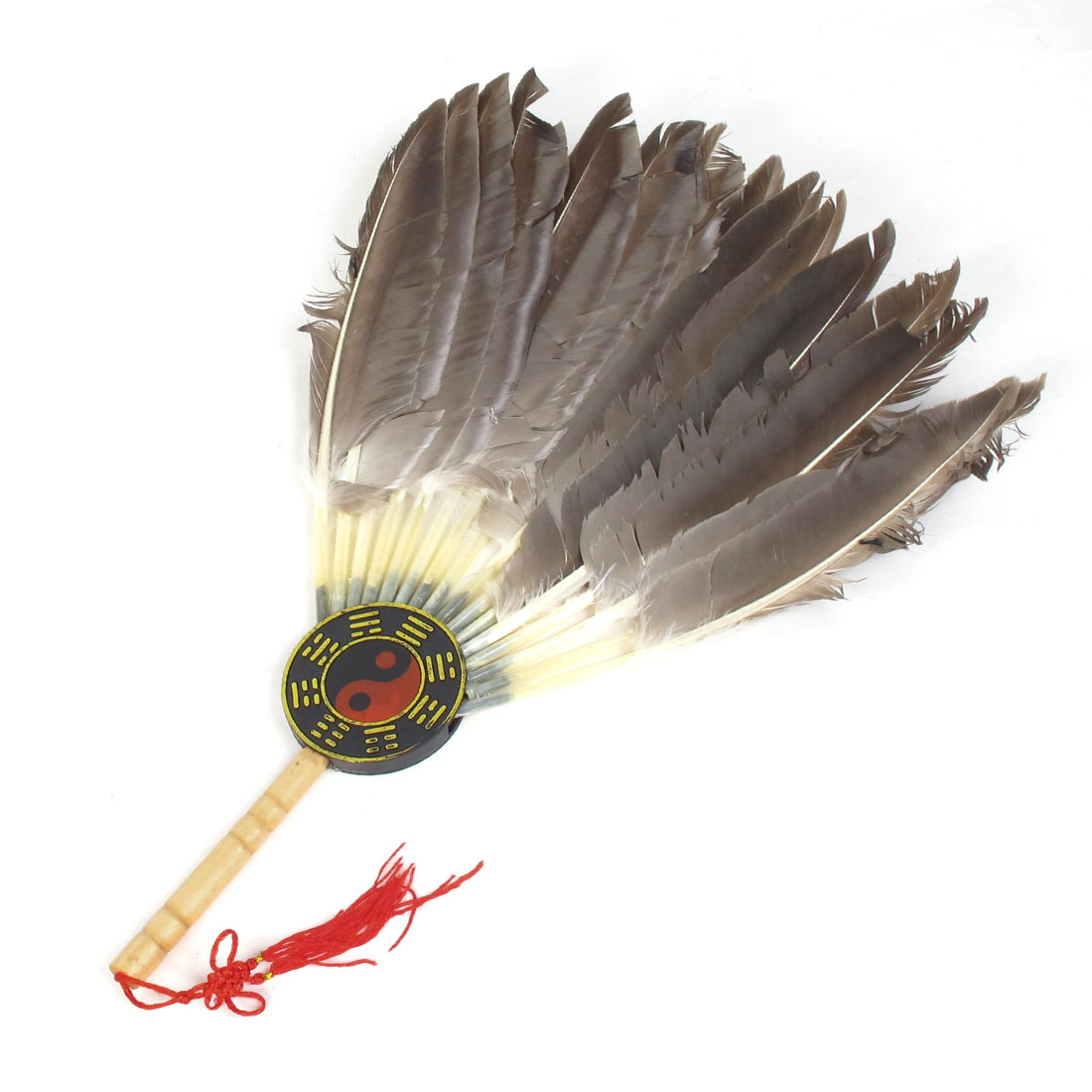 Zhuge Liang Imitated Goose Fur Eight Diagrams Decor Red Knot Handy Fan