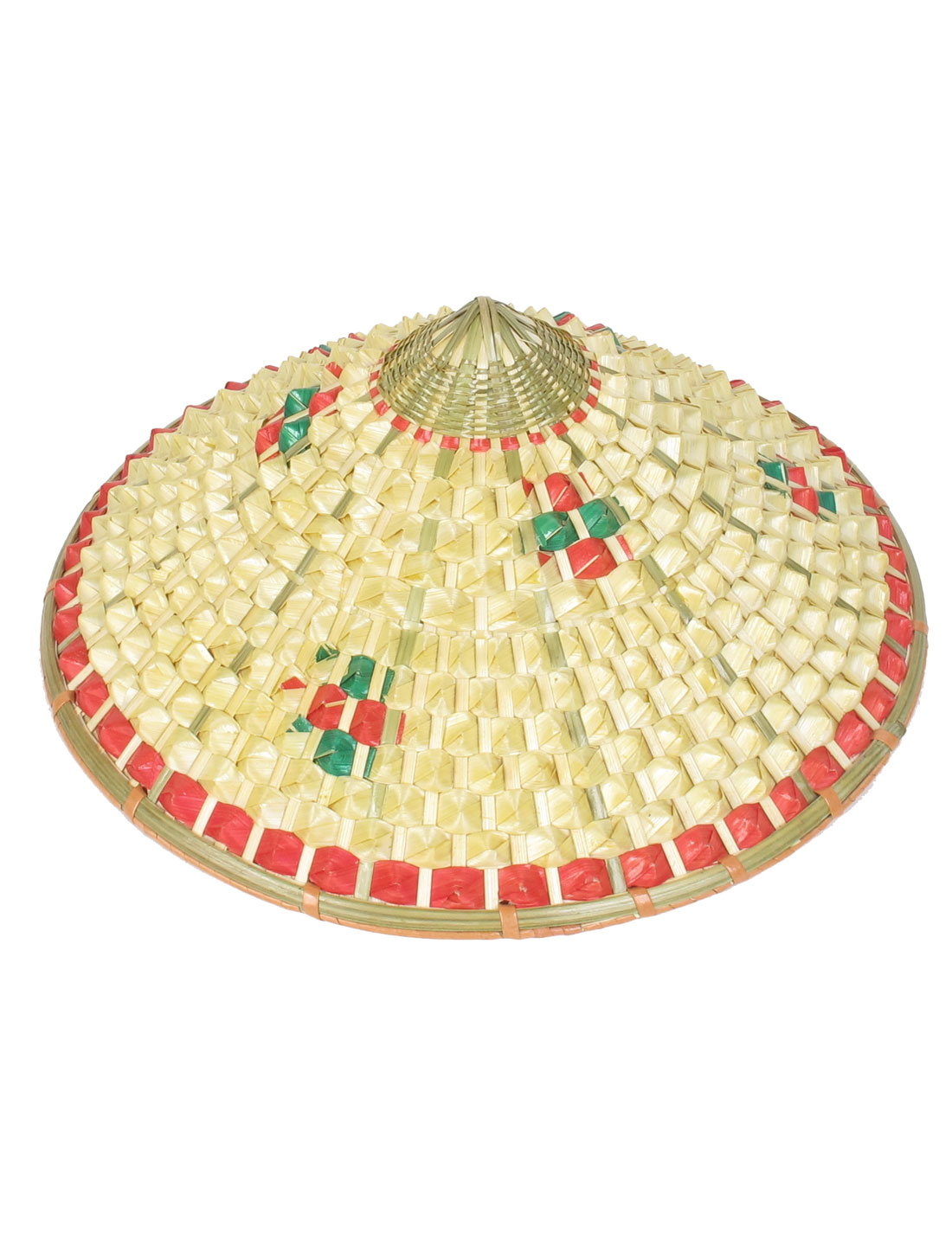 Three Colors Plaid Pattern Bamboo Weaving Pineapple Hat