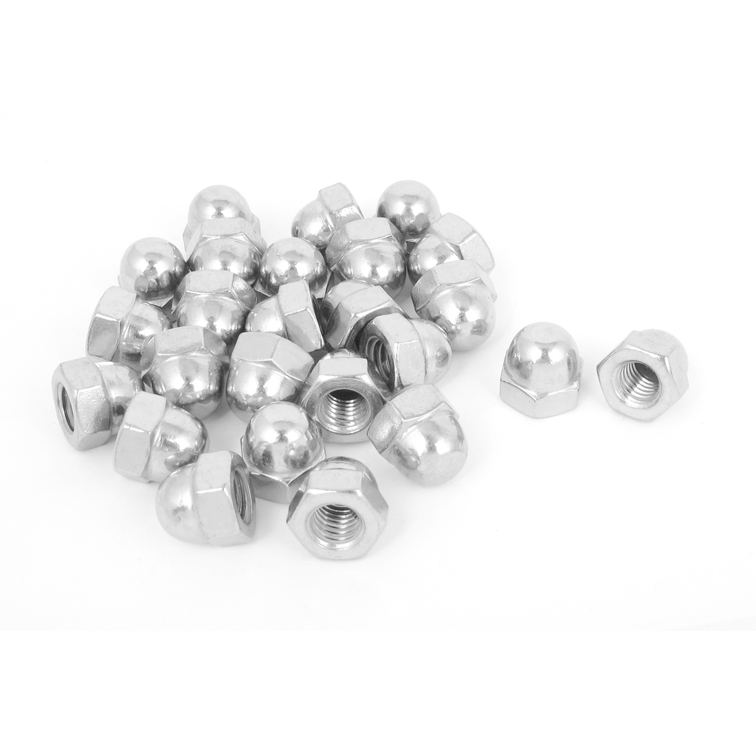 "3/8""-16 304 Stainless Steel Dome Head Cap Hex Nuts Silver Tone 25Pcs"