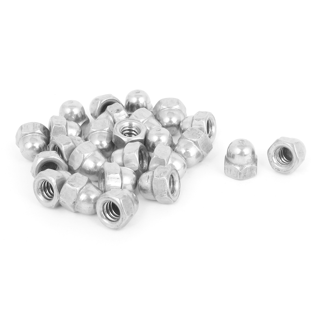 #10-24 304 Stainless Steel Dome Head Cap Acorn Hex Nuts Silver Tone 25Pcs