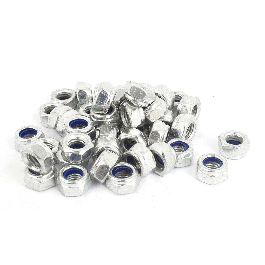 M8x1.25mm Zinc Plated Nylock Self-Locking Nylon Hex Lock Nuts Silver Tone 50pcs