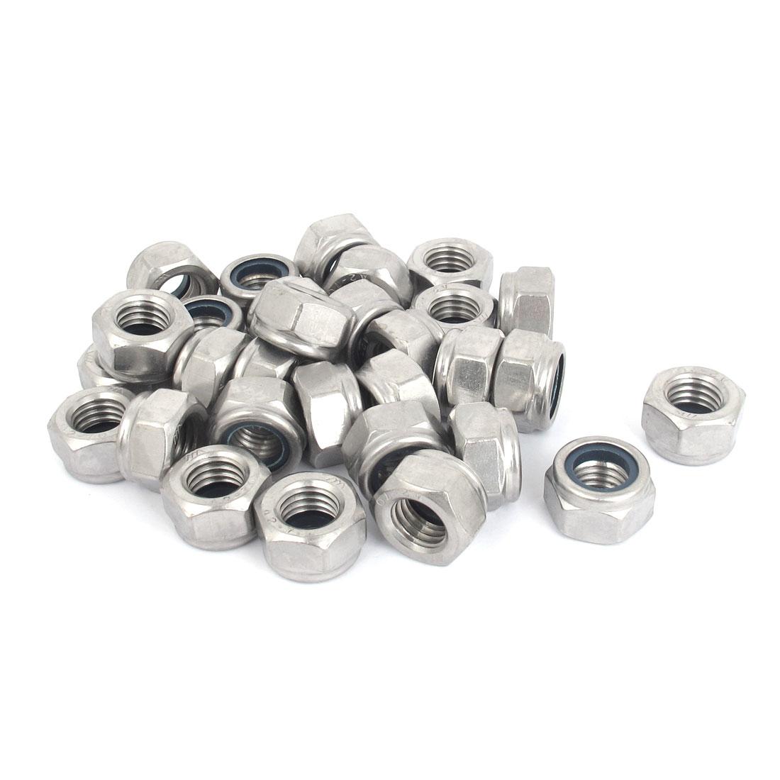 M14x2mm Stainless Steel Nylock Self-Locking Nylon Insert Hex Lock Nuts 30pcs