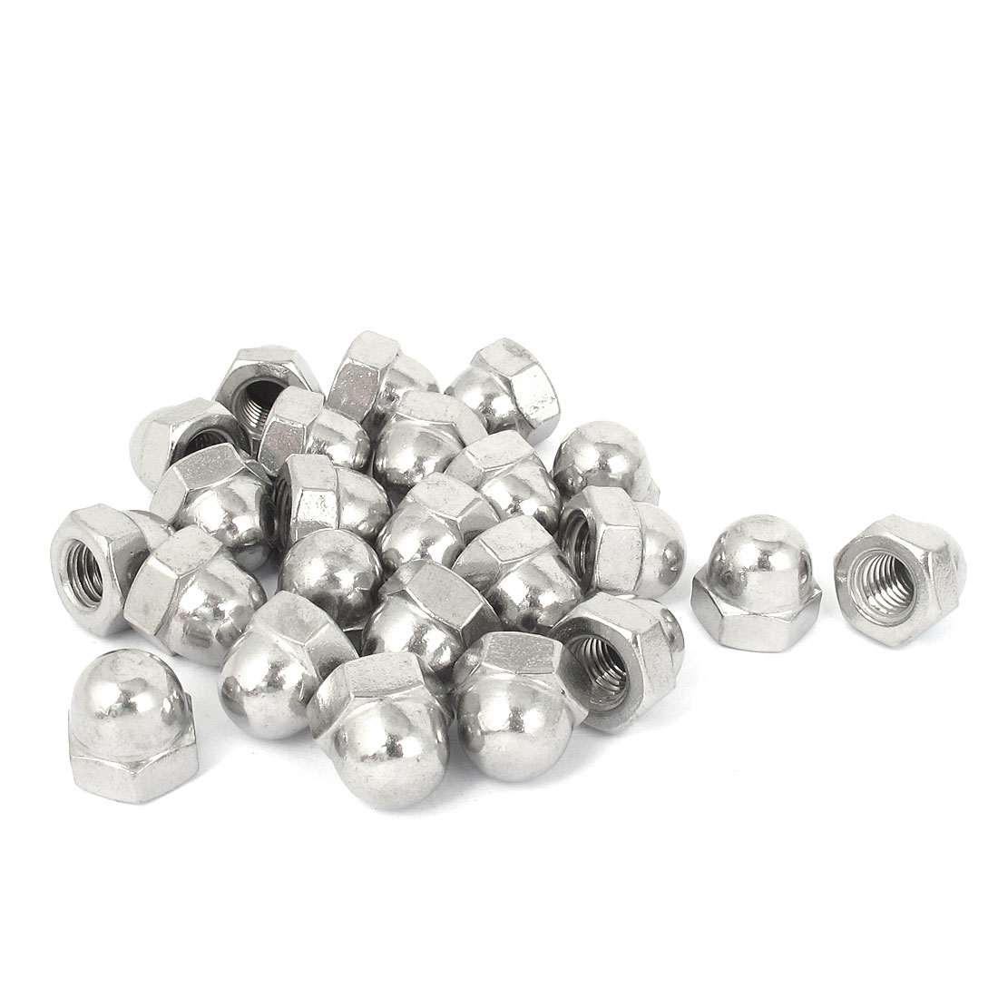 """3/8""""-16 304 Stainless Steel Dome Head Cap Acorn Hex Nuts 25Pcs"""