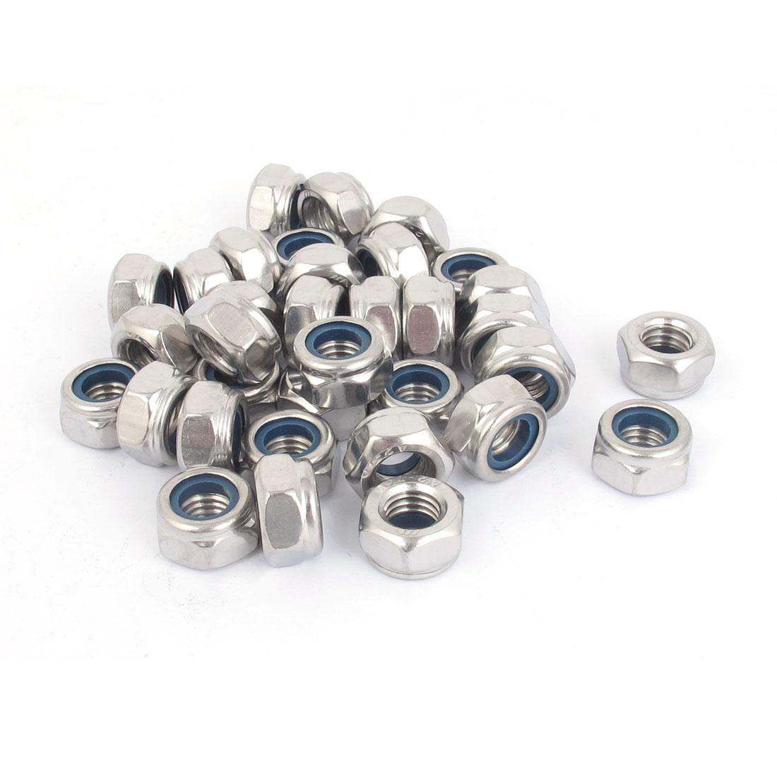M10x1.5mm 304 Stainless Steel Self-Locking Nylon Insert Hex Lock Nuts 50pcs