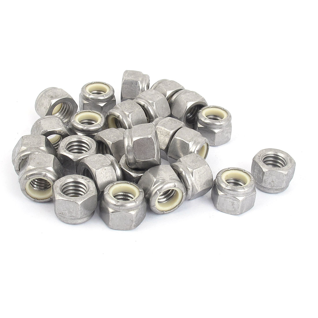 """3/8""""-16 Metal Self-Locking Nylon Insert Hex Lock Nuts Silver Tone 25Pcs"""