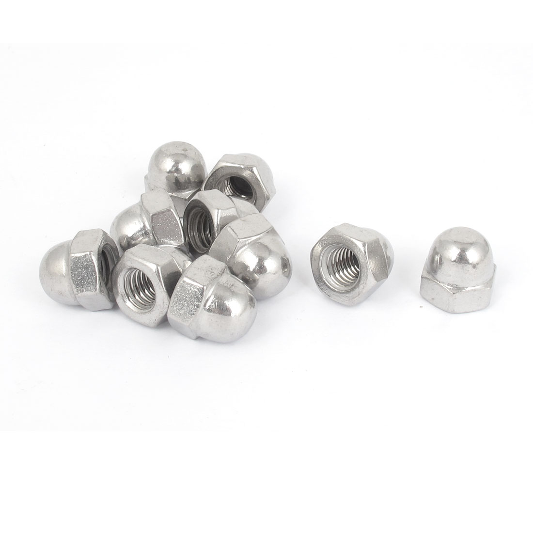 "3/8""-16 Stainless Steel Dome Head Cap Hex Nuts 10Pcs"