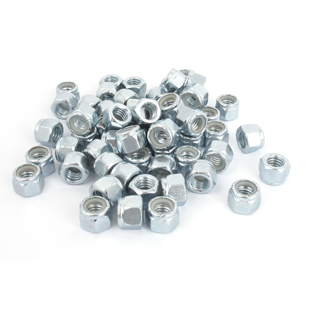 "3/8""-16 Metal Nylock Nylon Insert Hex Lock Nuts Silver Tone 100Pcs"