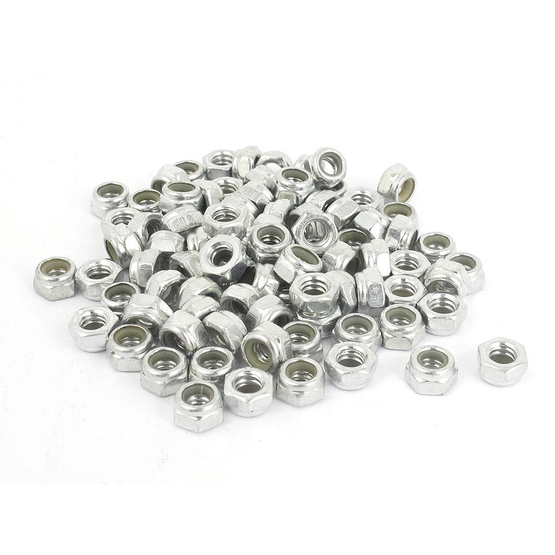 """3/16""""-24 Metal Self-Locking Nylon Insert Hex Lock Nuts Silver Tone 100Pcs"""