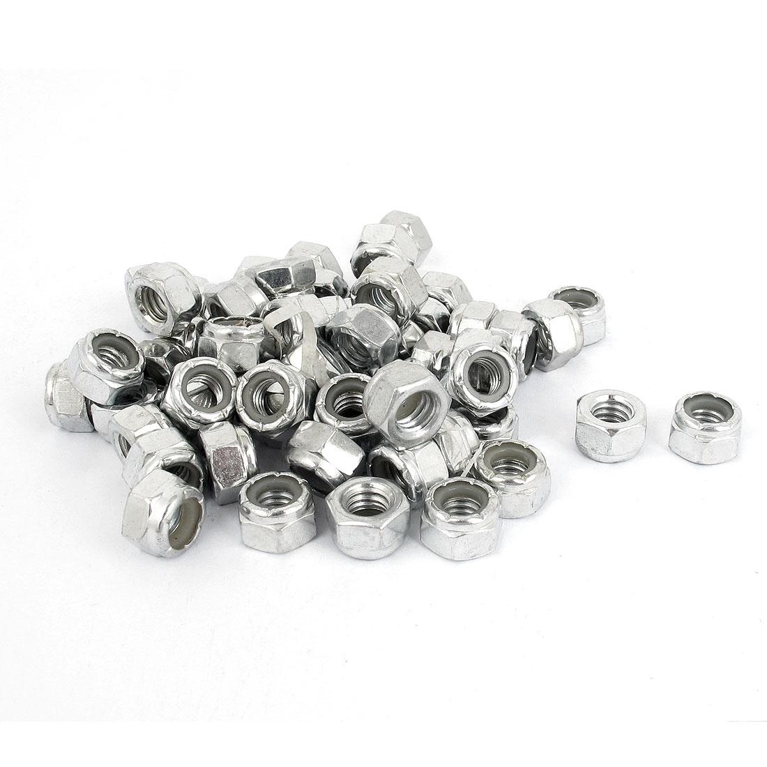 """5/16""""-18 Metal Nylon Insert Hex Lock Nuts Silver Tone 100Pcs"""