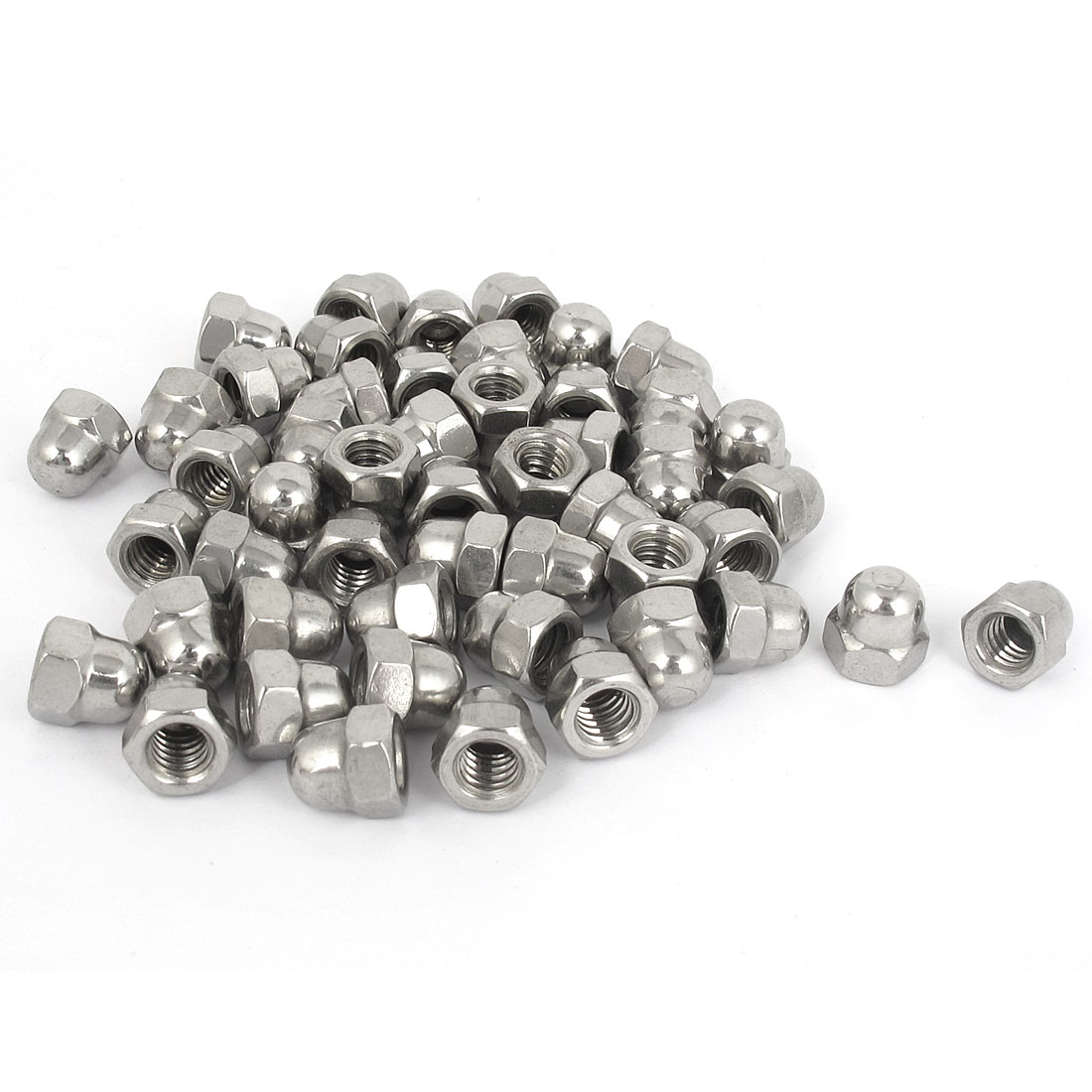"1/4""-20 Stainless Steel Dome Head Cap Acorn Hex Nuts Silver Tone 50Pcs"