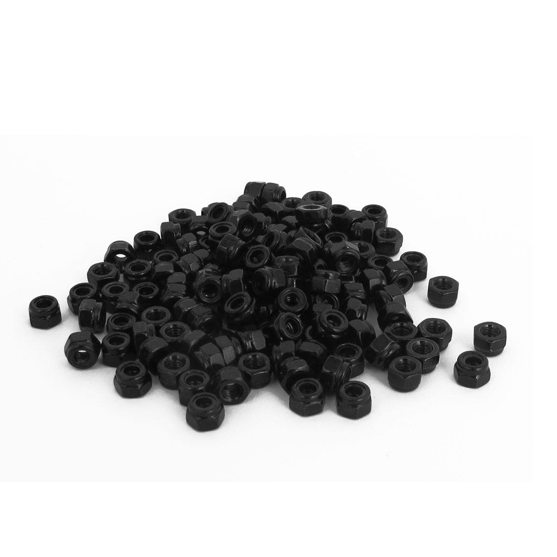 M3x0.5mm Zinc Plated Self-Locking Nylon Insert Hex Lock Nuts Black 100pcs
