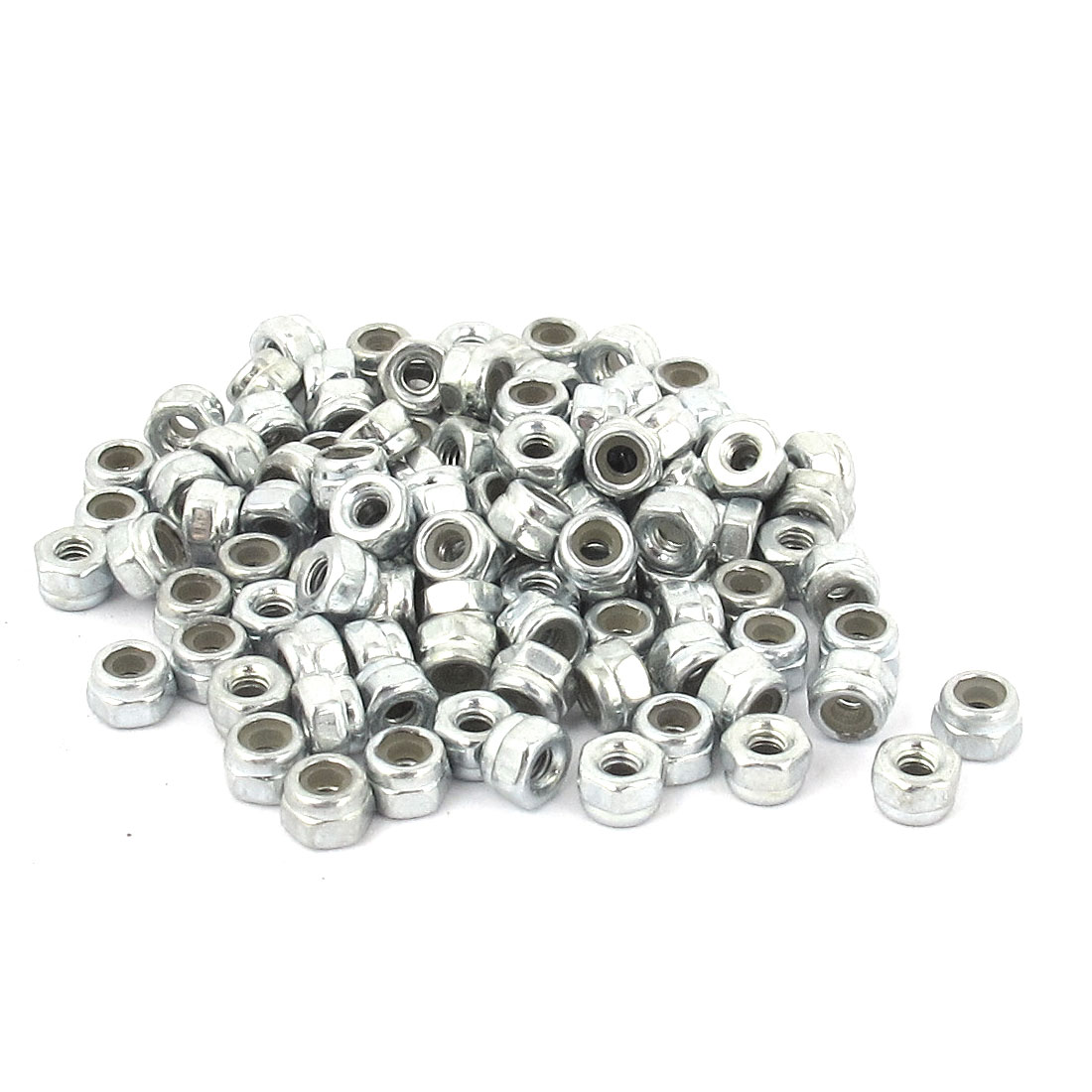 M2 Zinc Plated Nylock Self-Locking Nylon Insert Hex Lock Nuts 100pcs