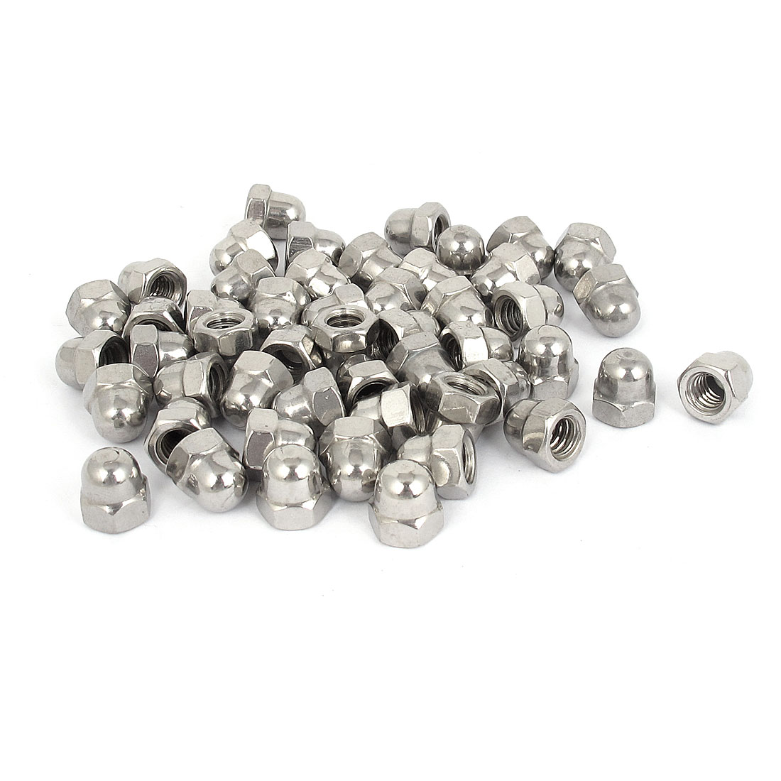 "1/4""-20 304 Stainless Steel Dome Head Cap Acorn Hex Nuts 50Pcs"