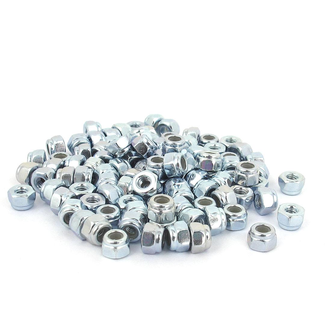 M2.5x0.45mm Zinc Plated Nylock Self-Locking Nylon Insert Hex Lock Nuts 100pcs