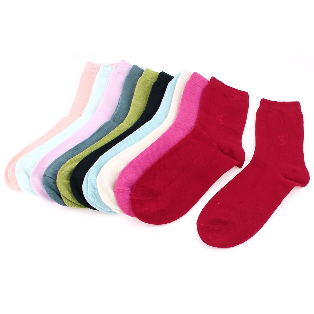 Elastic Cotton Blends Socks 10 Pairs Assorted Color for Children
