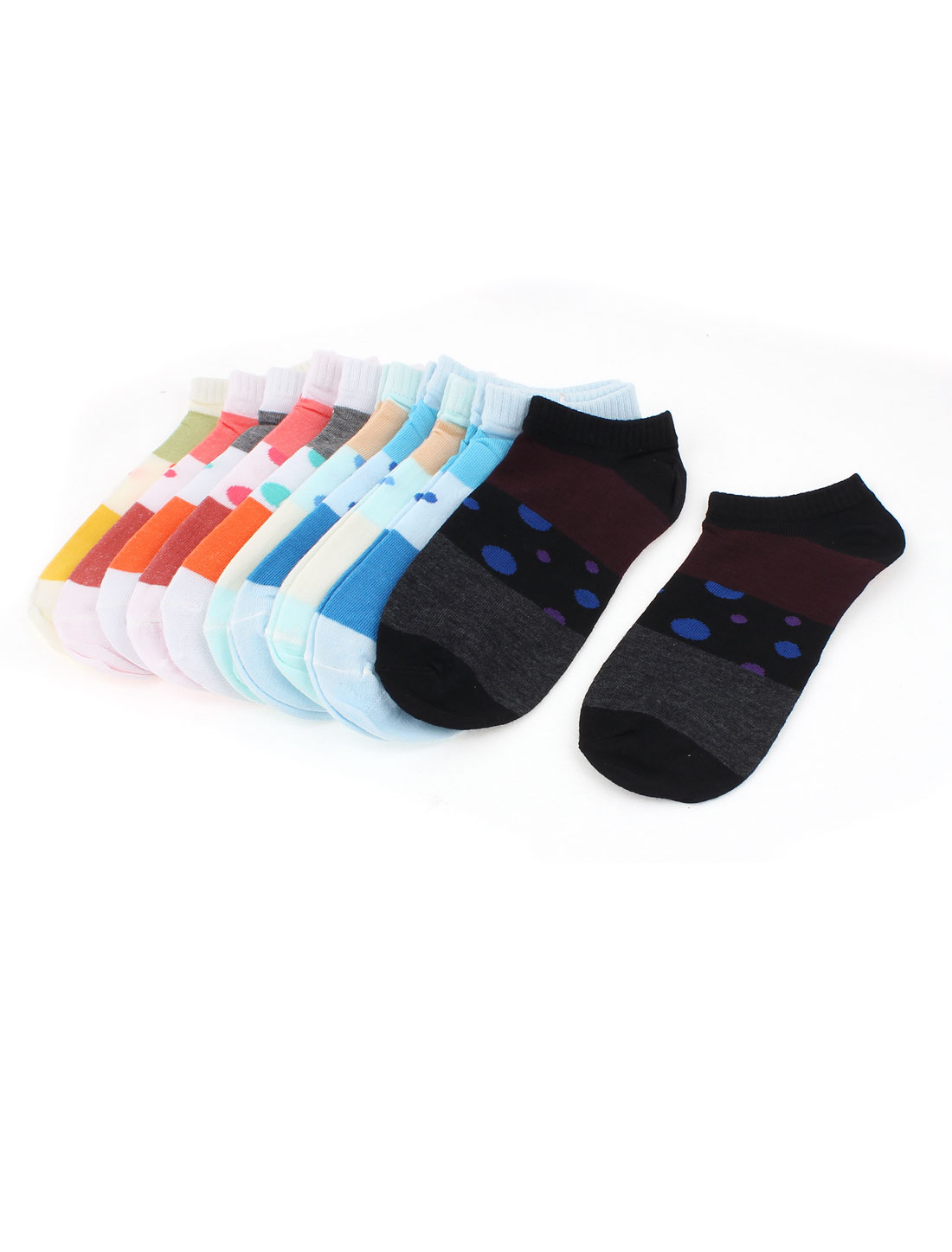 Elastic Cotton Blends Dots Printed Ankle Socks for Lady 10 Pairs Assorted Color