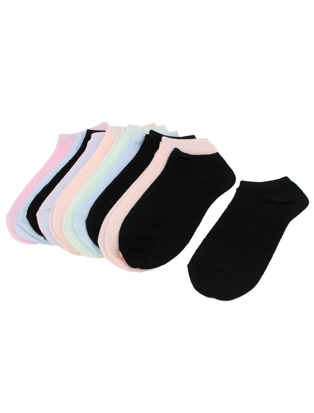 Elastic Cotton Blends Pure Pattern Ankle Socks for Lady Assorted Color 10 Pairs