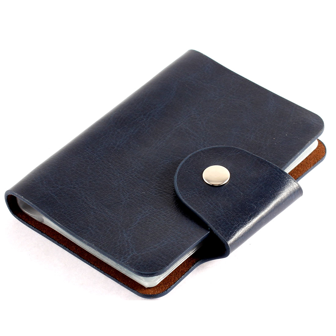 Faux Leather Surface 20 Slots Rectangle Clip Button Bank Credit ID Card Holder Dark Blue