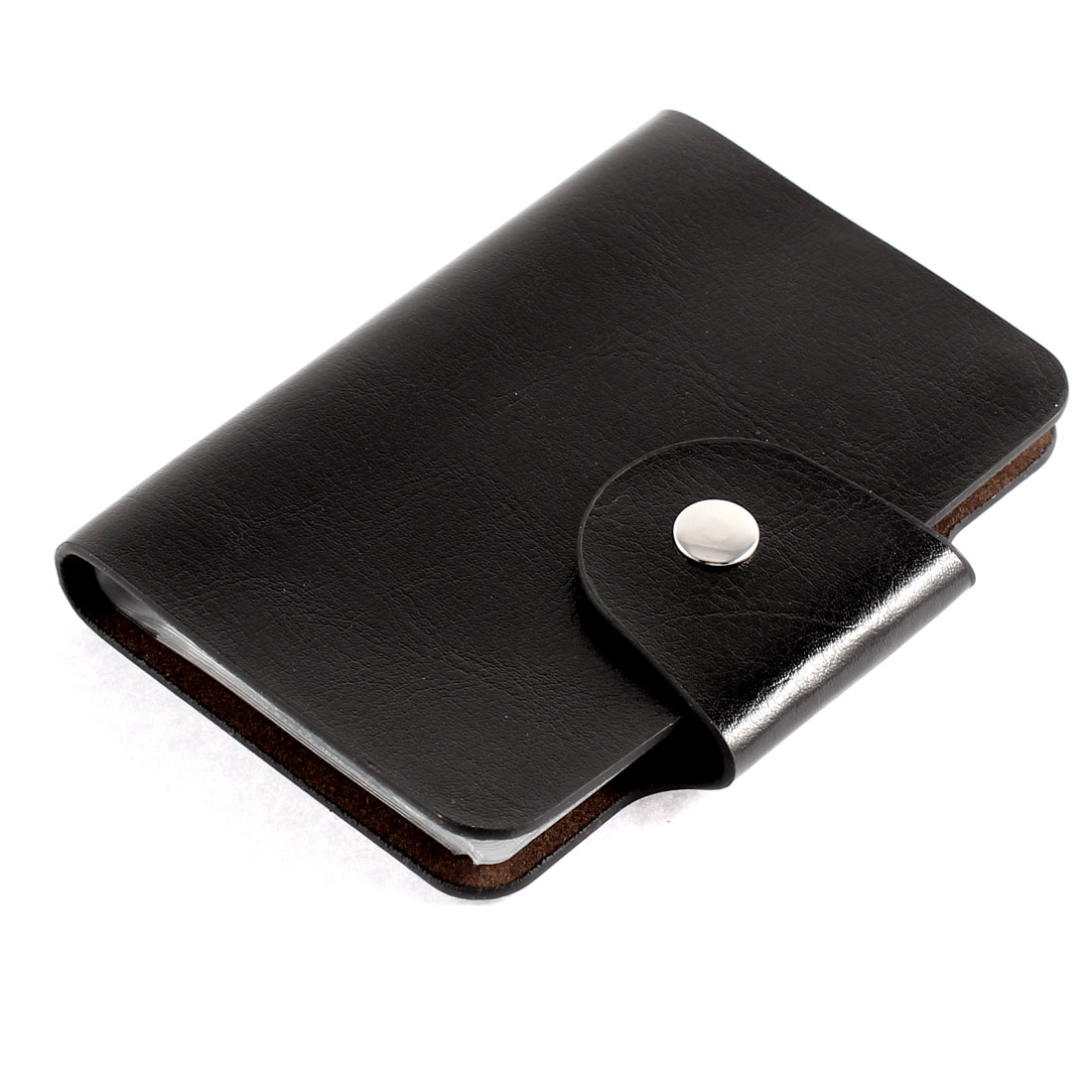 Faux Leather Surface 20 Slots Rectangle Button Press Bank Credit ID Card Holder Black