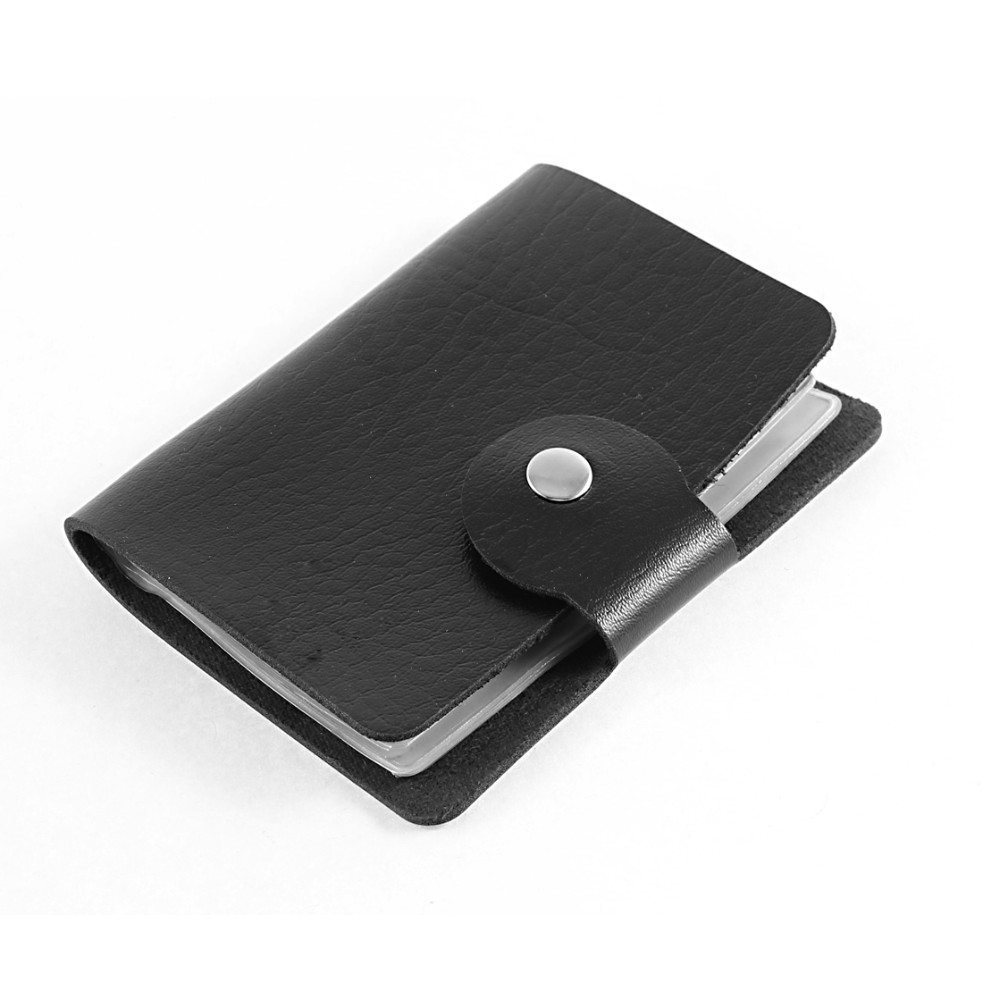 Unisex Faux Leather Cover Rectangle Button Press Bank Credit ID Card Container Black