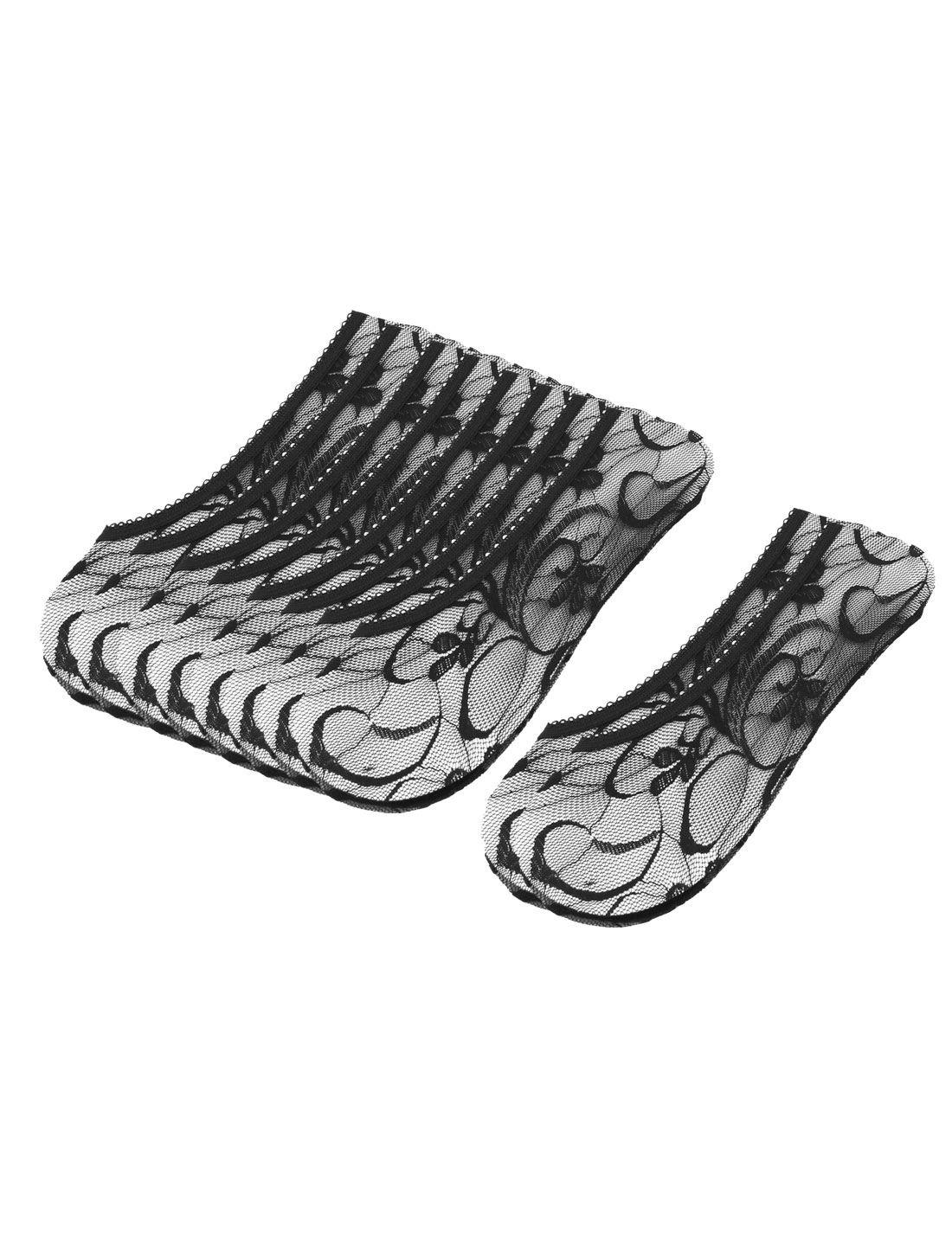Lady Flowers Pattern Elastic Low Cut Invisible Boat Socks 5 Pairs Black