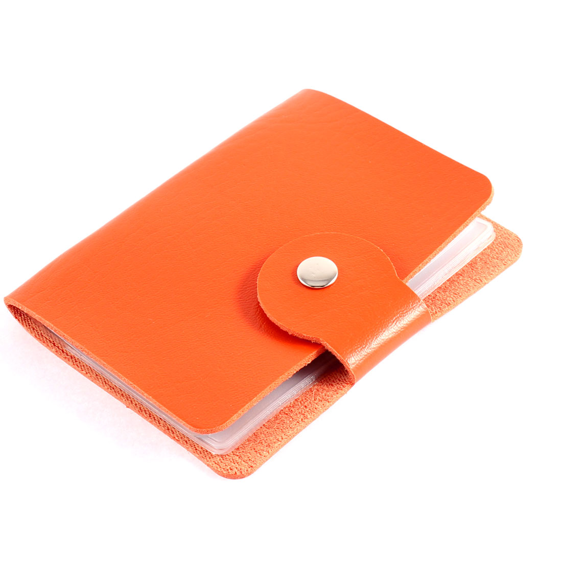 Unisex Faux Leather Cover Rectangle Button Press Bank Credit Business Card Holder Orange