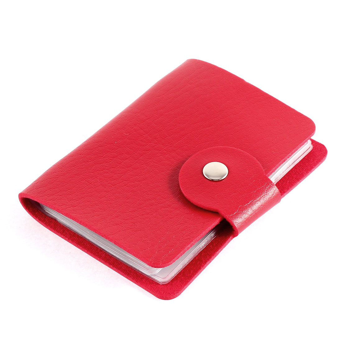Lady Faux Leather Cover Rectangular Button Press Bank Credit ID Card Holder Red
