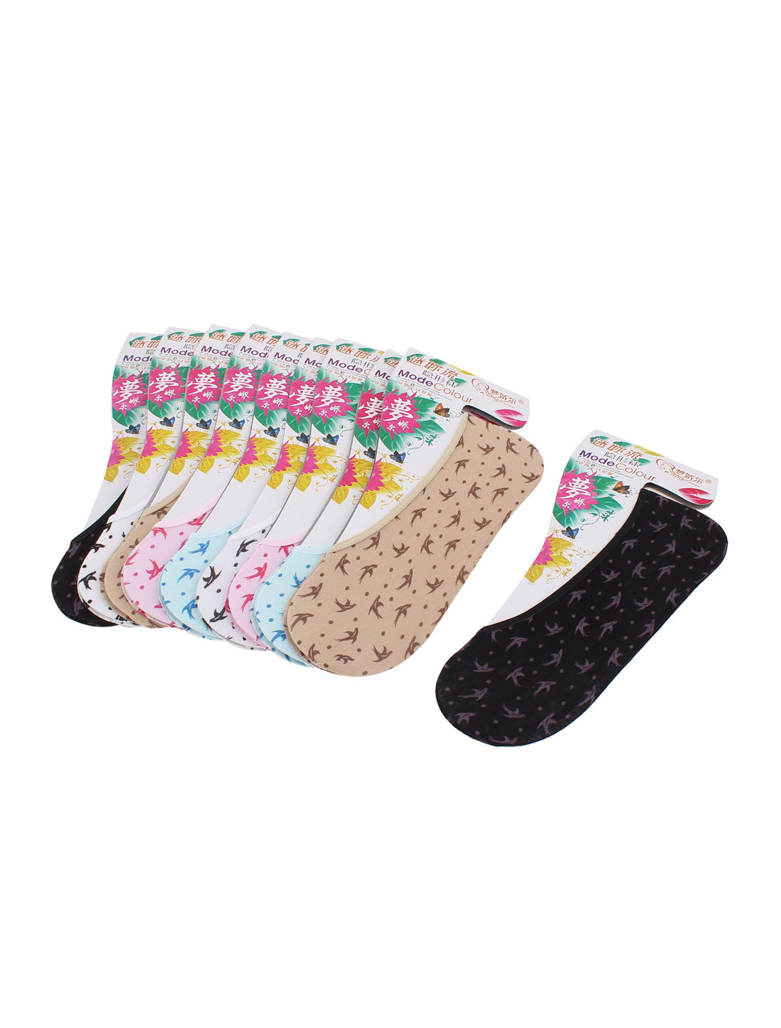 Stretchy Cotton Blends Swallow Printed Invisible Boat Socks for Women Assorted Color 10 Pairs