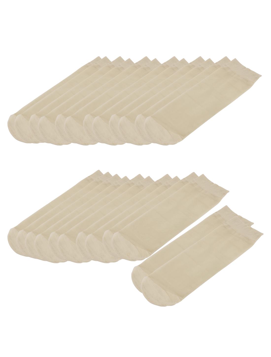 Ladies Summer Breathable Stretch Fabric Sheer Ankle Socks 12 Pairs Skin Beige