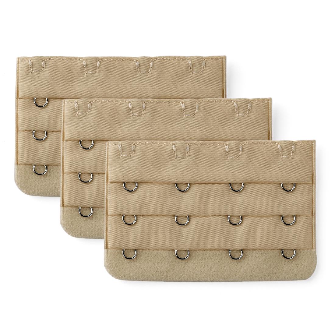 Women 3 Rows 4 Hooks Underwear Bra Band Extension Strap Extenders 3 Pcs Beige