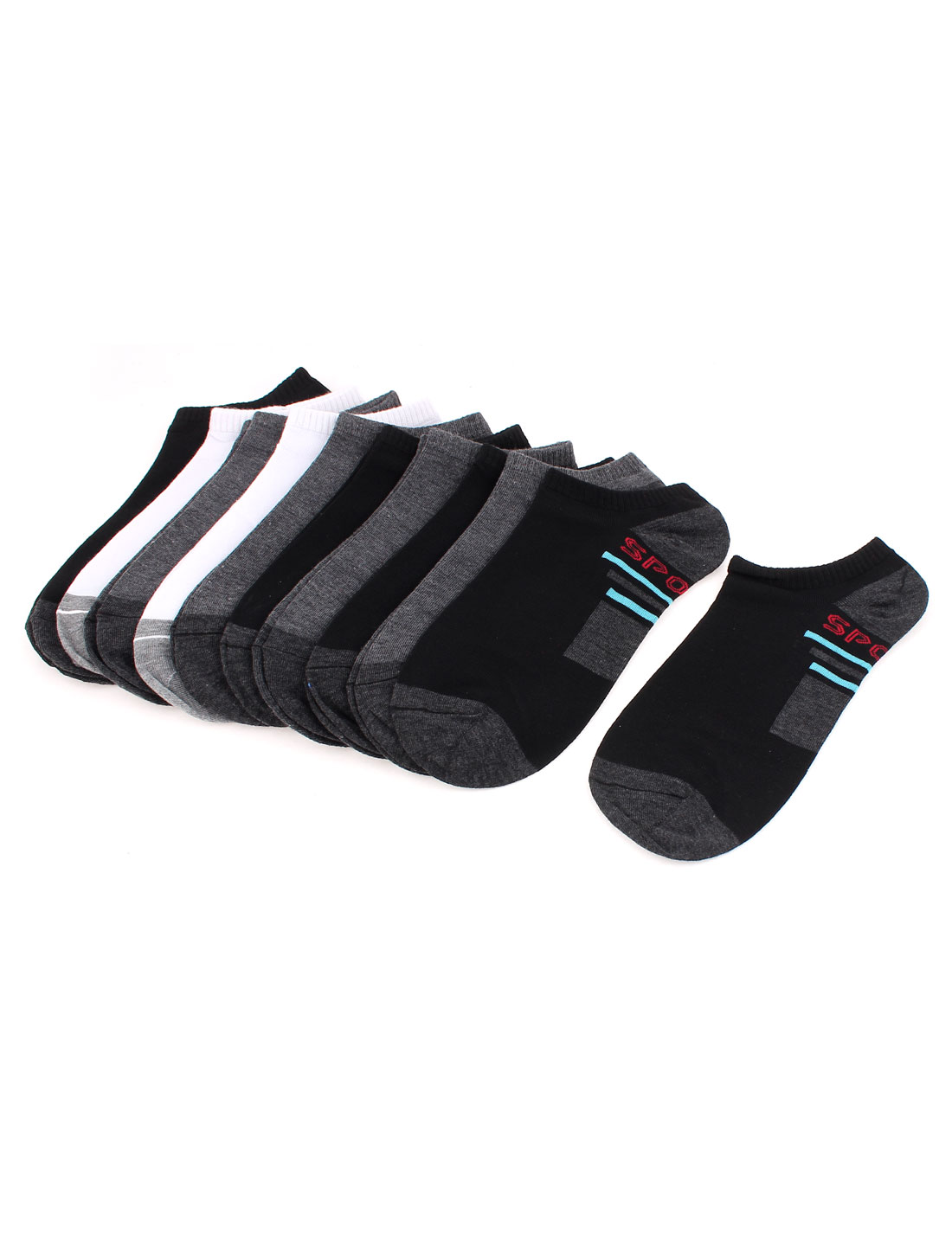 10 Pairs Cotton Blends Stretchy Cuff Letter Pattern Sports Ankle Socks for Men Tri Color