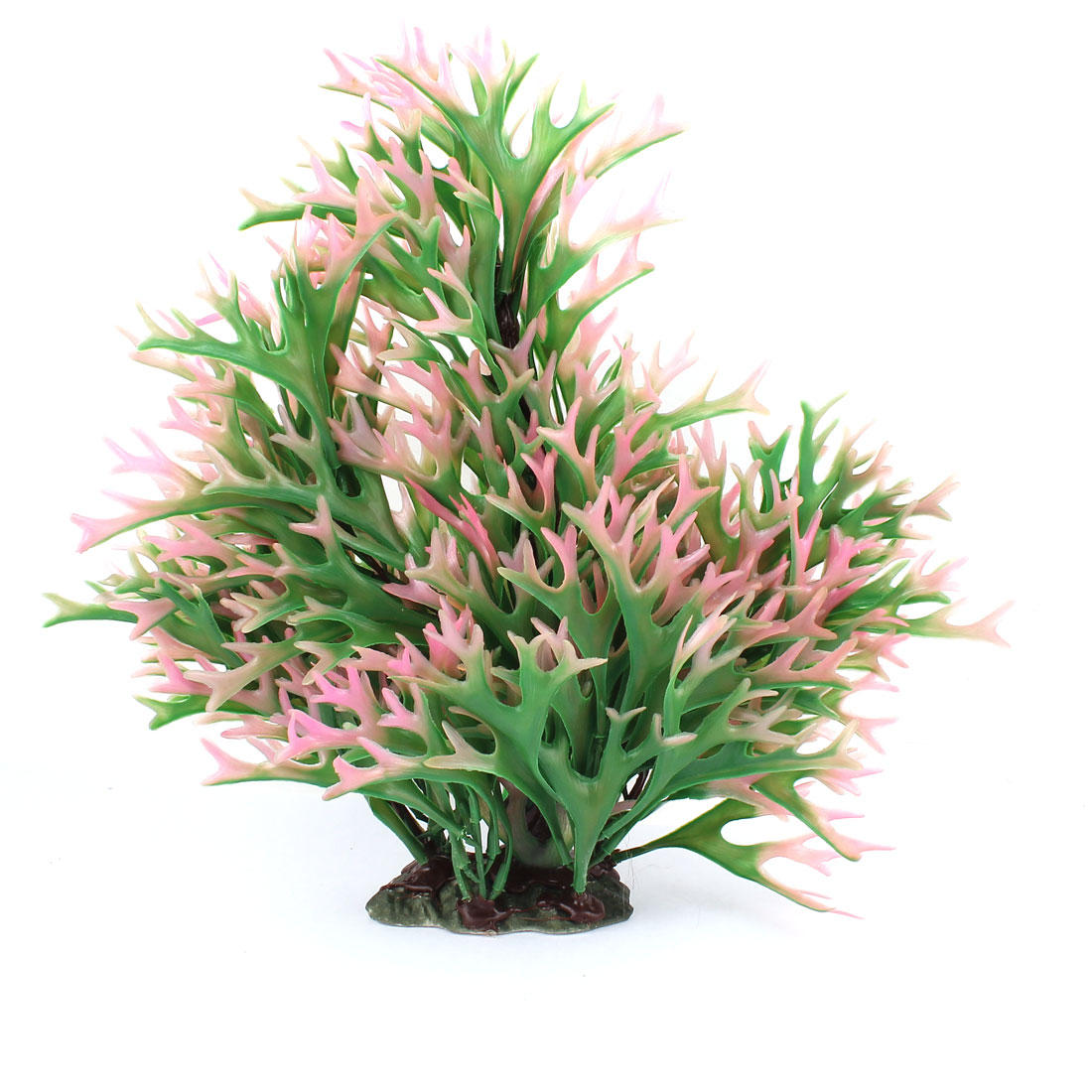 Plastic Fish Tank Aquarium Artificial Emulational Plant Decor 36cm High Green Pink