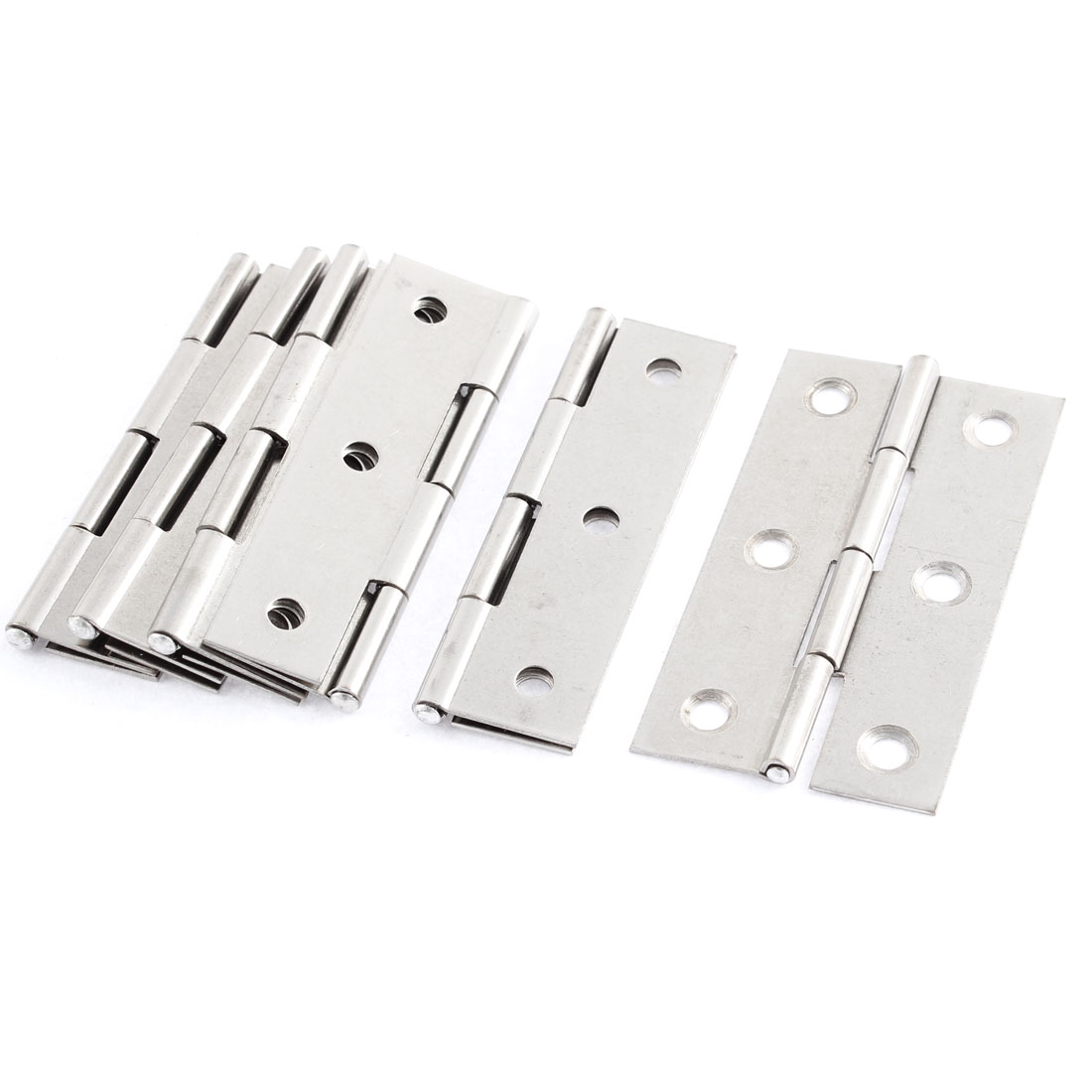 Rectangle Stainless Steel Window Cabinet Furniture Closet Door Hinge Silver Tone 6 Pcs