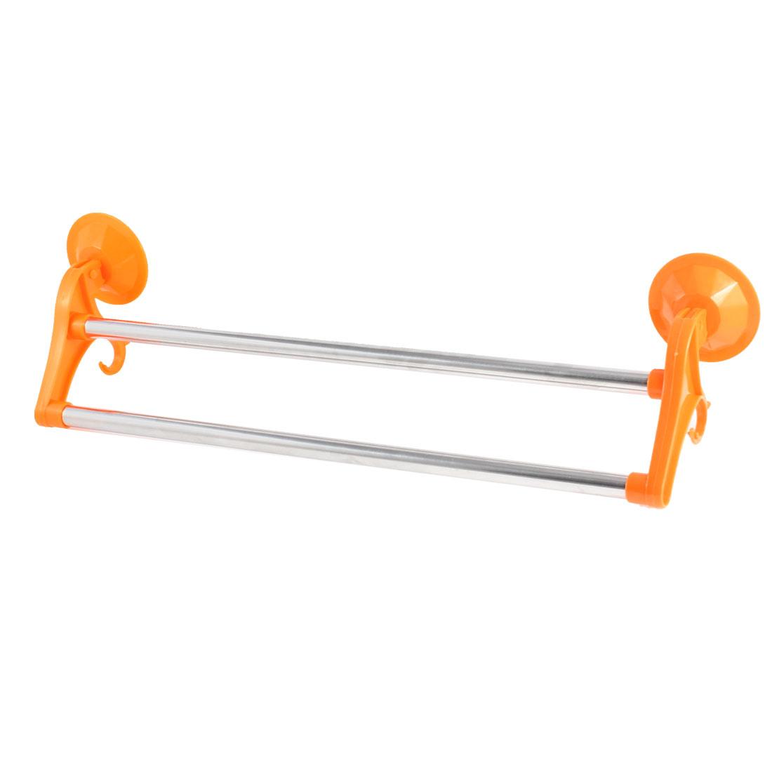 Hotel Bathroom Lavatory Suction Cup Double Towel Bar Rack Hanger Orange
