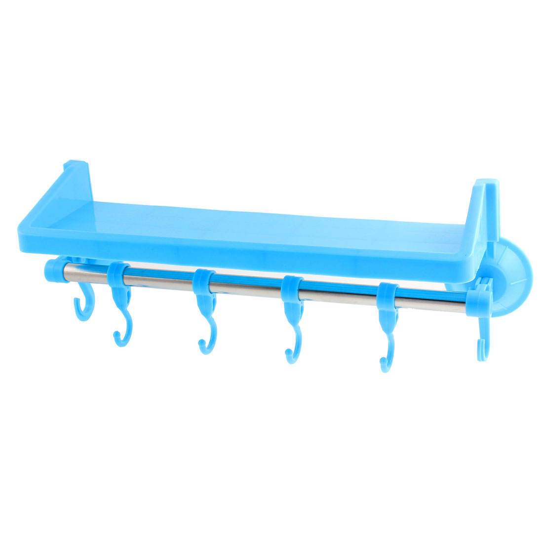 Kitchen Bathroom Plastic Multifunction Wall Sucking Suction Cup Storage Rack Blue