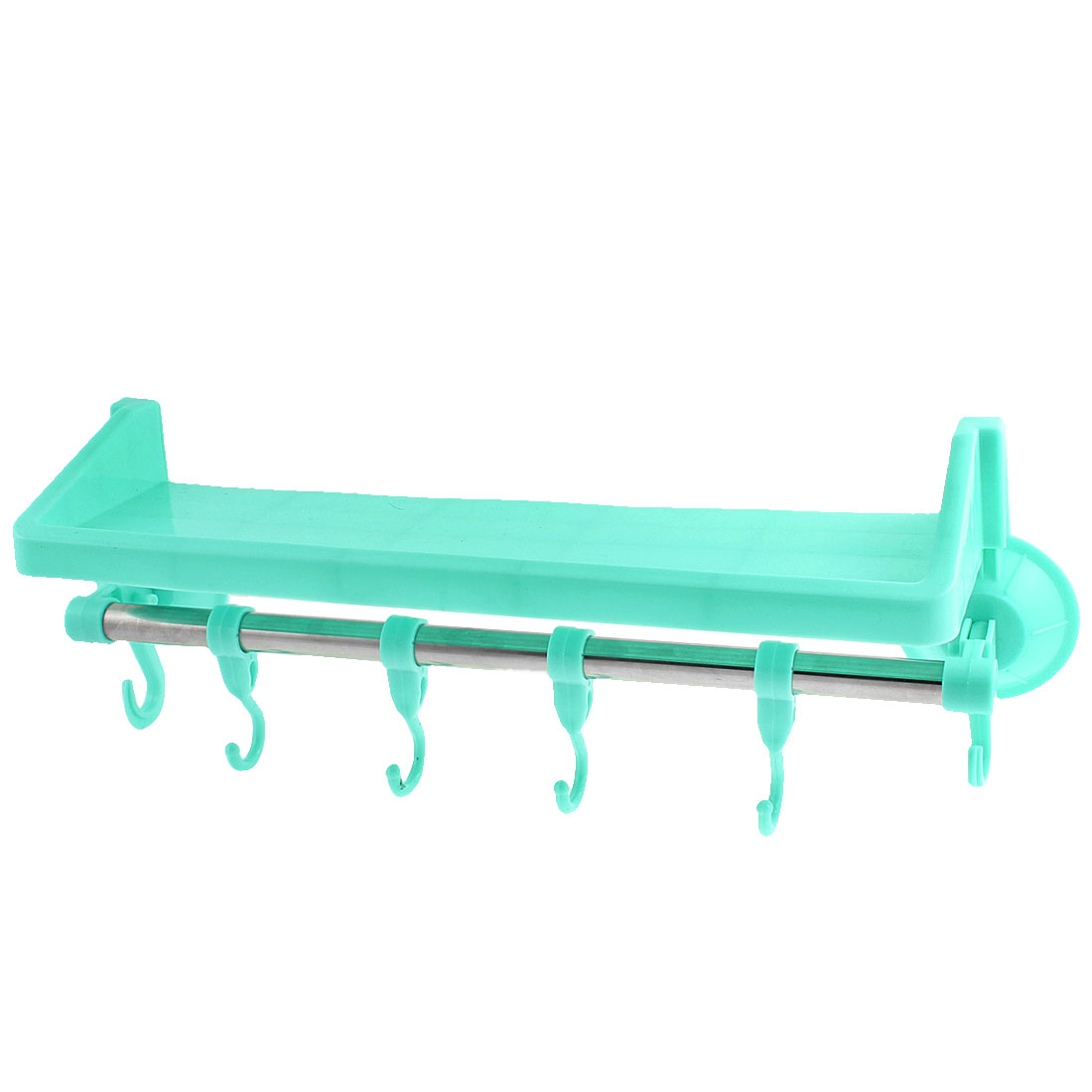 Kitchen Bathroom Plastic Wall Mounted Suction Cup Storage Holder Rack Light Blue