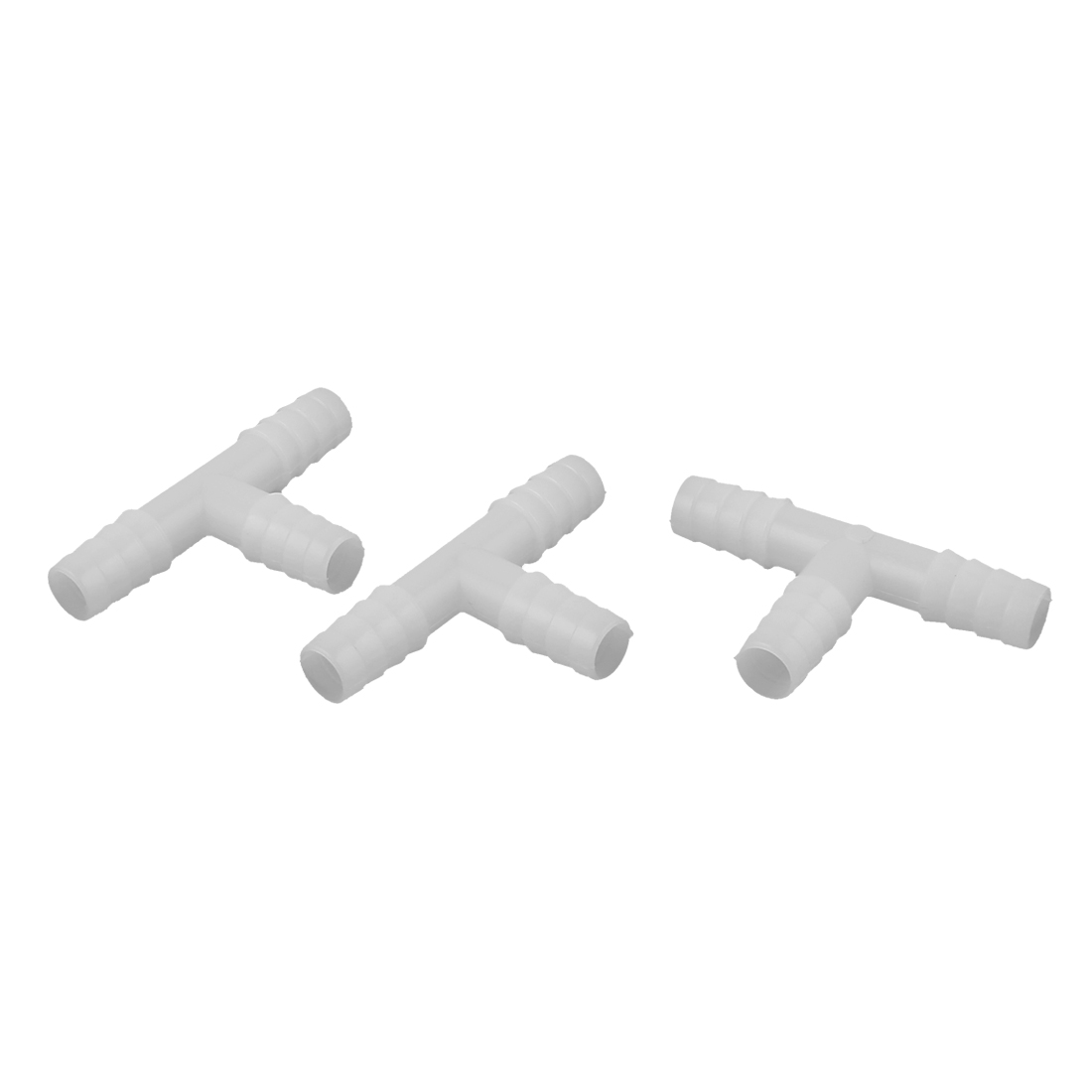 Fish Tank Aquarium Plastic T Shape Water Tubing Connectors White 3Pcs