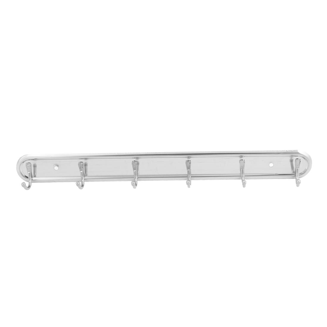 Aluminium Alloy Wall Mounted 6 Hooks Coat Towel Hat Rack Silver Tone